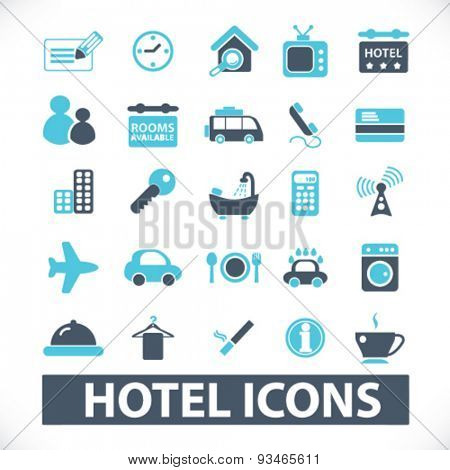 hotel, motel,  rent, services icons, signs, illustrations set, vector