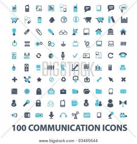 100 communication, connection, technology, internet, network, phone, mobile icons, signs, illustrations set, vector