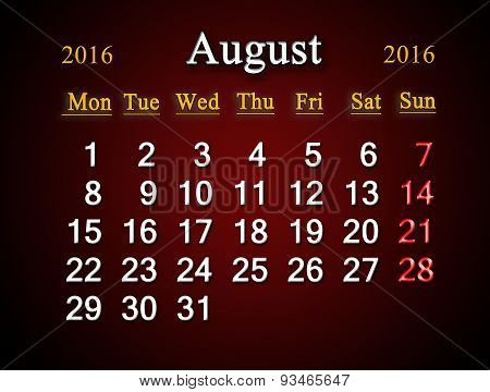Calendar On August Of 2016 On Claret
