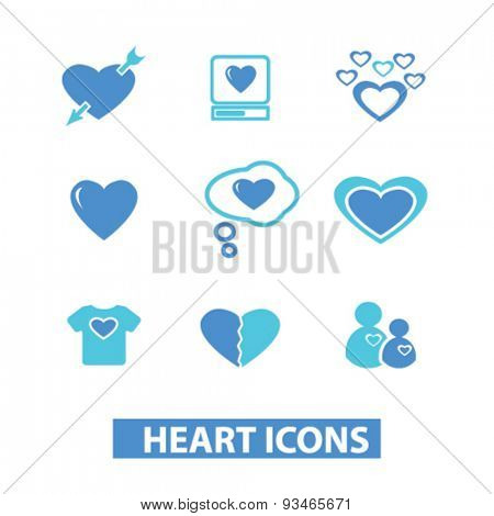 heart, love, relation, couple icons, signs, illustrations set, vector