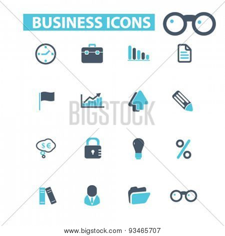 business, office, finance icons, signs, illustrations set, vector