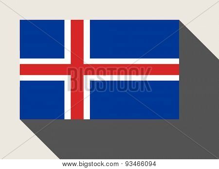 Iceland flag in flat web design style.