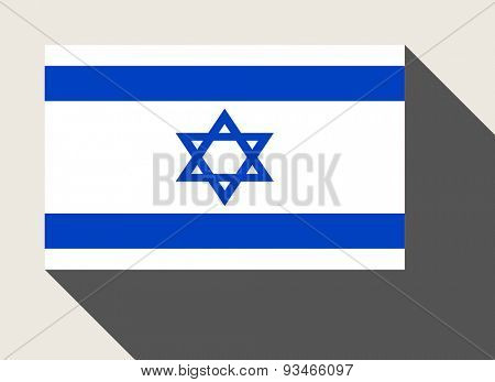 Israel flag in flat web design style.