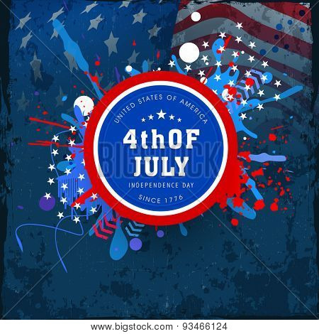 4th of July, American Independence Day celebration sticker, tag or label design on abstract national flag colors background.