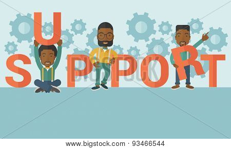 Three Black businessmen holding a letter, it is a support message they need help from others. Teamwork concept. A contemporary style with pastel palette soft blue tinted background. Vector flat design