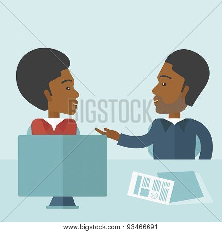 The two young african-american businessmen are talking about the marketing proposal with laptop a paper contract to be sign in the meeting room. Business partnership concept. A contemporary style with