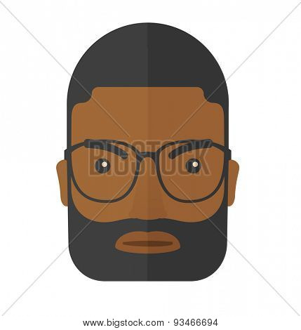 A face of angry black guy with his beard and very mad eyes. A Contemporary style. Vector flat design illustration isolated white background. Square layout.
