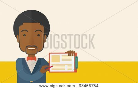 A handsome black guy wearing blue jacket holding his clipboard with paper where he wrote his report happily presenting his marketing plan. Marketing strategy concept. A Contemporary style with pastel