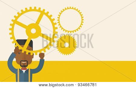 A black business standing holding up gear planning to go into technology business. Planning concept. A Contemporary style with pastel palette, soft beige tinted background. Vector flat design