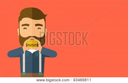 A happy Hipster office man eating hamburger as his snack break. Relaxing concept. A Contemporary style with pastel palette, orange tinted background. Vector flat design illustration. Horizontal layout