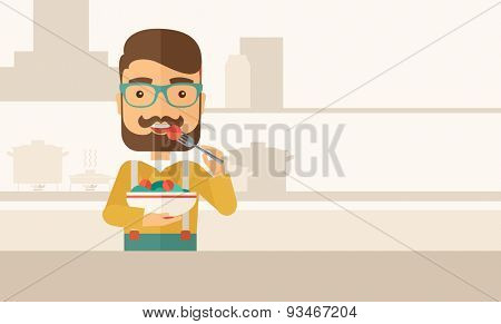 A hungry man eating meal with his fork and by carrying the bowl. Craving concept. A Contemporary style with pastel palette, soft beige tinted background. Vector flat design illustration. Horizontal