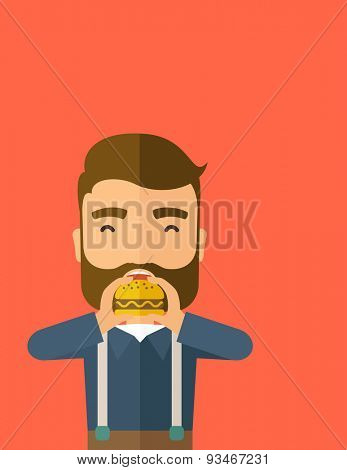 A happy Hipster office man eating hamburger as his snack break. Relaxing concept. A Contemporary style with pastel palette, orange tinted background. Vector flat design illustration. Vertical layout