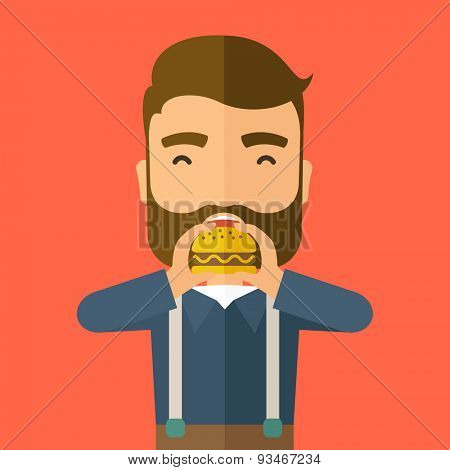 A happy Hipster office man eating hamburger as his snack break. Relaxing concept. A Contemporary style with pastel palette, orange tinted background. Vector flat design illustration. Square layout.
