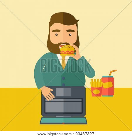A young fat guy eating burger, fries, and soda for drink while working on his laptop. Business concept. A Contemporary style with pastel palette, soft beige tinted background. Vector flat design