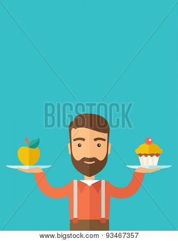 A caucasian hipster young man carries with his two hands cupcake and apple as his balance diet. A contemporary style with pastel palette dark blue tinted background. Vector flat design illustration