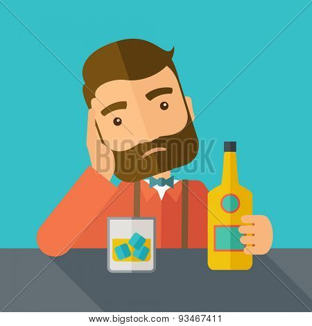 A caucasian sad man is having a problem drinking beer in the bar. Depressed concept. A contemporary style with pastel palette dark blue tinted background. Vector flat design illustration. Square
