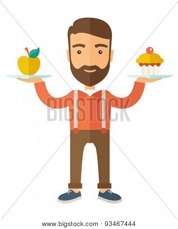 A caucasian hipster young man carries with his two hands cupcake and apple as his balance diet. A Contemporary style with pastel palette, soft beige tinted background. Vector flat design illustration