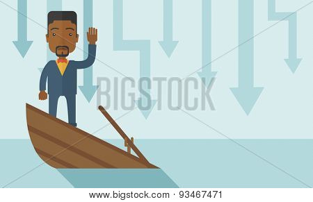 A failure black businessman standing on a sinking boat with those arrows on his back pointing down symbolize that his business is loosing. He needs help. Bankruptcy concept. A contemporary style with