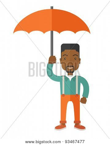 An african-american businessman standing holding umbrella for his protection in any calamity. A Contemporary style. Vector flat design illustration isolated white background. Vertical layout