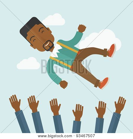 Happy african-ameircan businessman being throwing up to the sky by his teamwork or colleague. Happiness concept. A contemporary style with pastel palette soft blue tinted background with desaturated