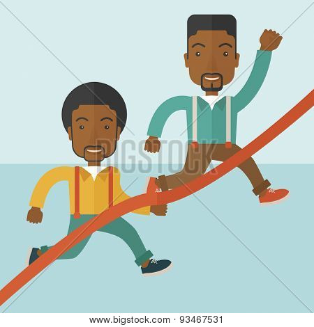 A two happy african guy running to the finish line for meeting the deadline. Winner, victory concept. A contemporary style with pastel palette soft blue tinted background. Vector flat design