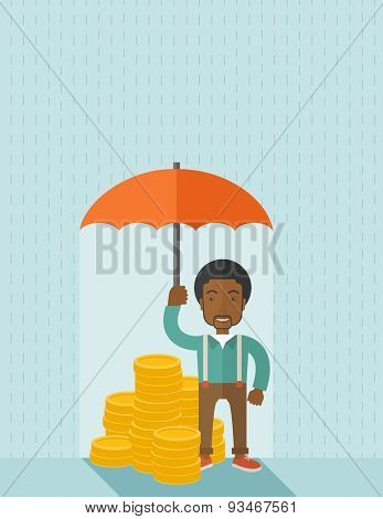 An african-american businessman standing holding umbrella protecting his money to investments, money management. Saving money for any financial crisis will come. Saving concept. A contemporary style