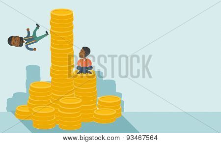 Two black businessman one sitting with self confidence on the top of a coin while the other one, competitor feel sad on his falling down from higher piled coin as a symbol of unsuccessful business. A