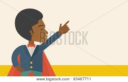 A hero african businessman pointing up high to the sky with success and vision to be number one in business. Motivation concept. A Contemporary style. Vector flat design illustration.