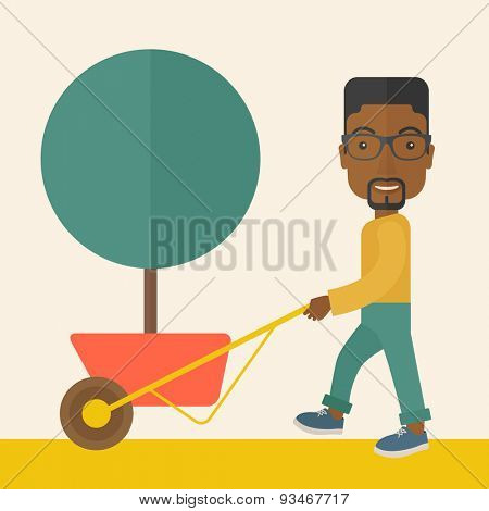 A young african man pushing the cart with green tree. Business growth concept. A Contemporary style with pastel palette, soft beige tinted background. Vector flat design illustration. Square layout.
