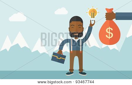 An african-american young man exchange his hand with idea bulb to hand of money bag. Exchanging concept. A contemporary style with pastel palette soft blue tinted background with desaturated clouds