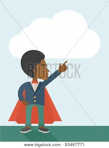 A hero african businessman pointing up high to the sky with success and vision to be number one in business. Motivation concept. A Contemporary style with pastel palette, soft blue tinted background