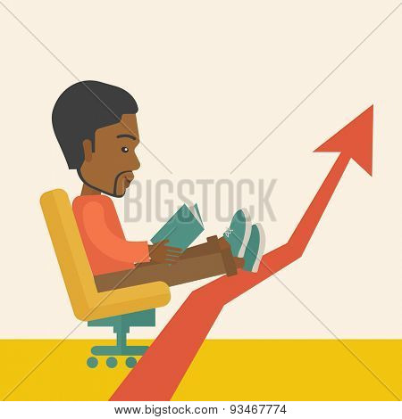 A Black guy sitting, relaxing in increasing business. Progress business concept. A Contemporary style with pastel palette, soft beige tinted background. Vector flat design illustration. Square layout.