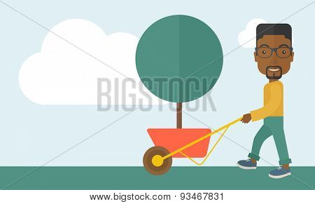 A young african man pushing the cart with green tree. Business growth concept. A Contemporary style with pastel palette, soft blue tinted background with cloud. Vector flat design illustration