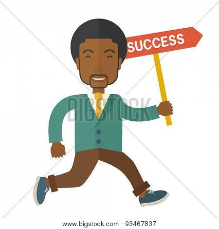 A happy african businessman smiling while holding the placard with success written. Business growth concept. A Contemporary style. Vector flat design illustration isolated white background. Square