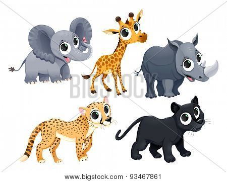 Funny African animals. Vector cartoon isolated characters.