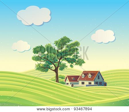 Rural landscape with the house.