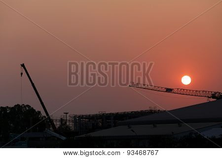 Sunset And Plant Currently Under Construction.