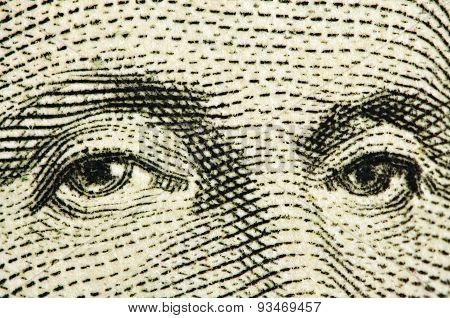 Eyes Of The President Of Washington. Macro