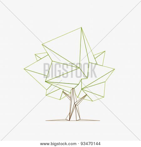 Conceptual Polygonal Tree. Vector Illustration.