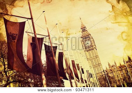 Angled View of Row of International Flags in front of Iconic Big Ben Clock Tower, Palace of Westminster, London, England, Image Colorized for Antique Look