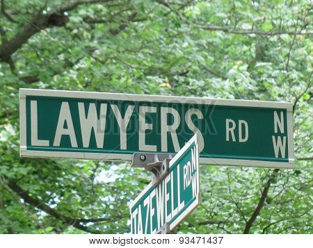 Lawyers Road Sign