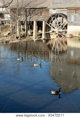 water mill with canada geese