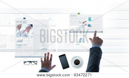 Businessman Pointing At Financial Reports And News Slides
