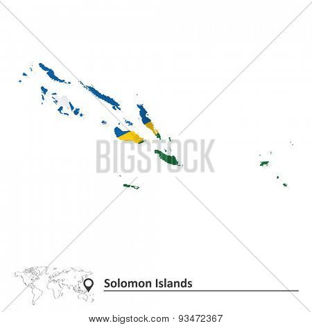 Map of Solomon Islands with flag - vector illustration
