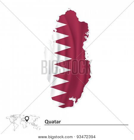 Map of Quatar with flag - vector illustration