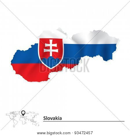 Map of Slovakia with flag - vector illustration
