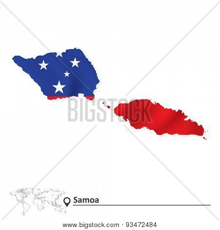 Map of Samoa with flag - vector illustration