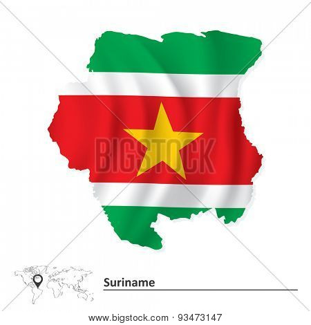 Map of Suriname with flag - vector illustration