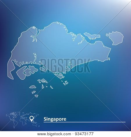 Map of Singapore - vector illustration