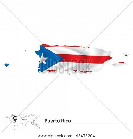 Map of Puerto Rico with flag - vector illustration